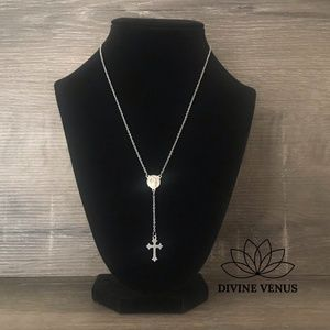 Rosary Style Stainless Steel Necklace